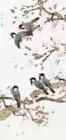 水墨桃花树上的鸟