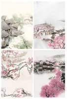 江南城市水墨画