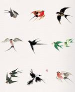 水墨飞翔燕子