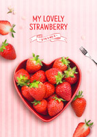 草莓果盘美食海报