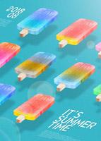 夏日五彩冰棒海报