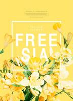 黄色鲜花促销海报