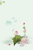 中国风荷花绘画