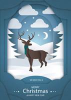 麋鹿元素圣诞海报