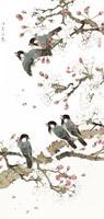 水墨桃花鸟