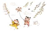 小孩放风筝