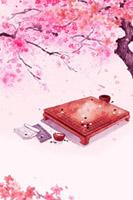 桃花树下棋盘背景