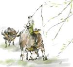 放牛的孩子插画
