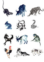 12生肖水墨画