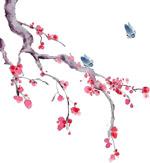 水墨桃花梅花和蝴蝶