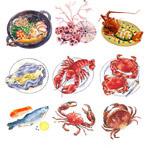 手绘海鲜食物