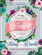 花卉婚礼派对海报
