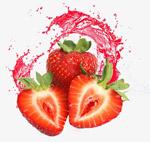 飞溅果汁的草莓