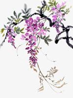 水墨紫藤花