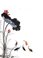 中国水墨荷花与鱼