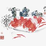 水墨画菊花和蟹