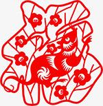 鼠年福字剪纸元素