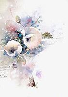水彩古风花朵