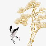 古风仙鹤松树