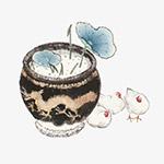 工笔画水缸