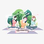 卡通瑜伽女性插图