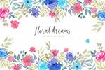 水染花卉�框背景