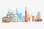 水彩印度旅游地标