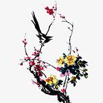 水墨花鸟和鸣图