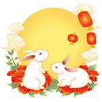 手绘中秋兔子元素