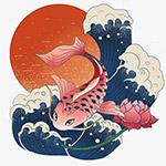 国潮鲤鱼插画