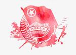 水彩红色青年徽章