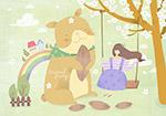 荡秋千女孩与小猫插画