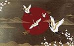 国潮风仙鹤图案背景