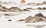 日出山峰美景绘画
