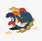国潮手绘丹顶鹤