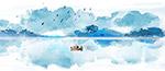 水彩绿色湖水风景画