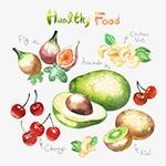 水彩绿色水果食物