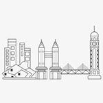 线描重庆建筑