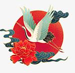 中国风仙鹤牡丹花日出