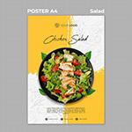 鸡肉沙拉美食海报