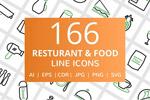 餐厅食物线框图标