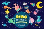 卡通太空恐龙插画