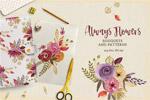 手绘花卉水彩素材
