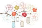 鲜花挂罐矢量图形