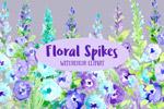 水彩花穗花卉