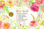 水彩金色玫瑰花卉