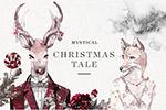圣诞节水彩插画