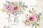水彩玫瑰花卉剪贴画