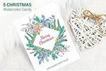 圣诞节水彩贺卡