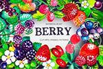 水彩水果植物图案